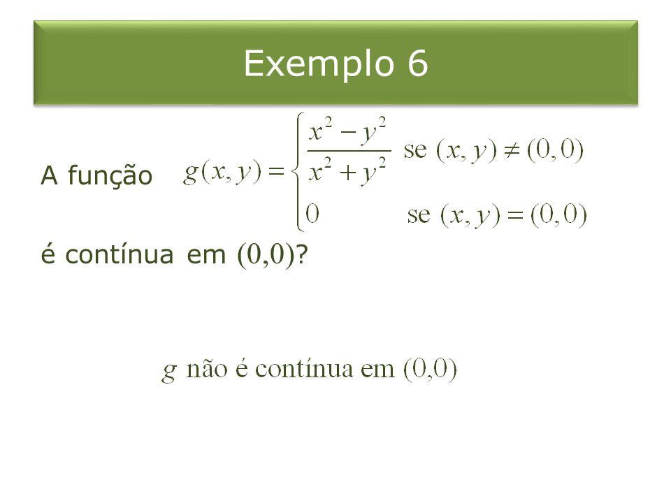 Exemplo 6 A função é contínua em (0,0)