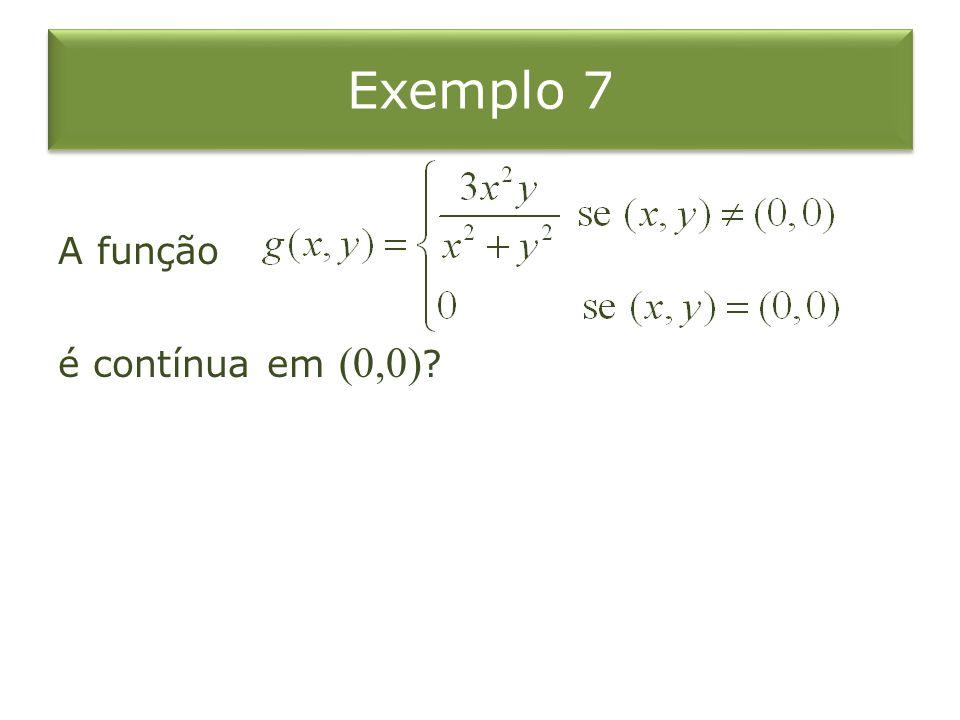 Exemplo 7 A função é contínua em (0,0)