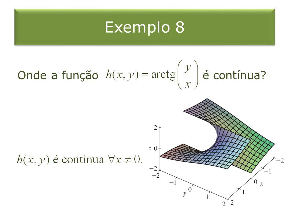 Exemplo 8 Onde a função é contínua