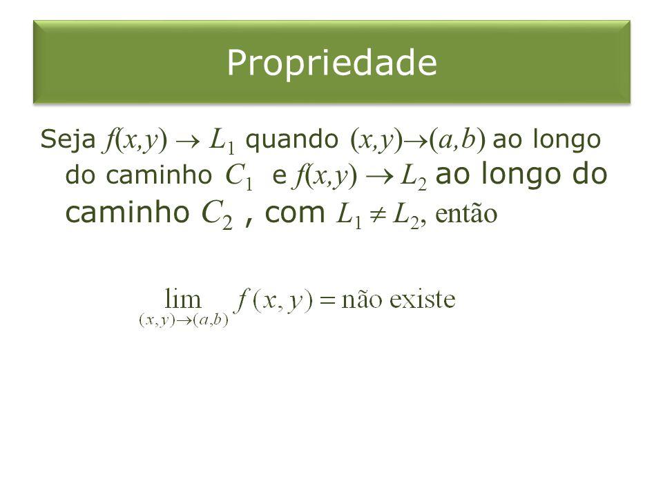 Propriedade Seja f(x,y)  L1 quando (x,y)(a,b) ao longo do caminho C1 e f(x,y)  L2 ao longo do caminho C2 , com L1  L2, então.