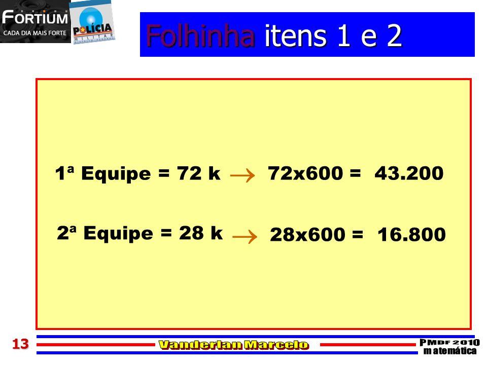 Folhinha itens 1 e 2   1ª Equipe = 72 k 72x600 = 43.200