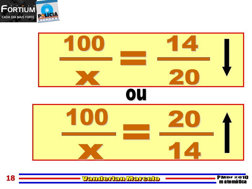 100 14 = 20 x ou 100 20 = 14 x 18