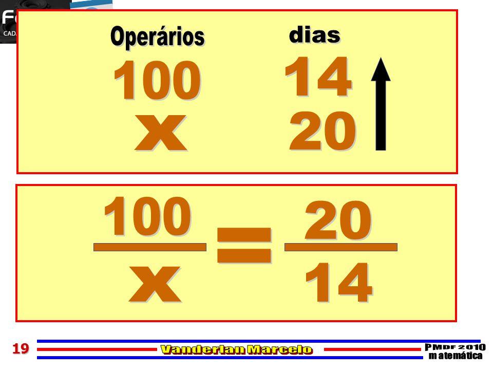 Operários dias 14 100 20 x 100 20 = 14 x 19