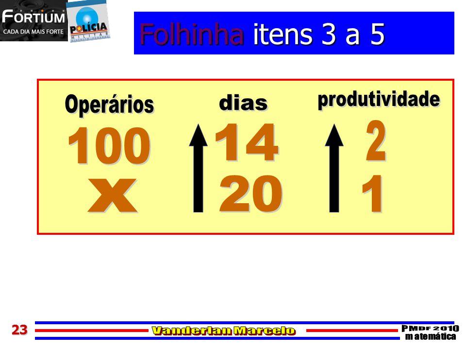 Folhinha itens 3 a 5 produtividade Operários dias 2 14 100 20 1 x 23