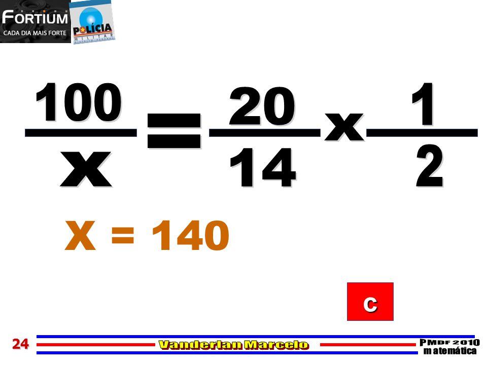 100 1 20 = x 2 14 x X = 140 c 24