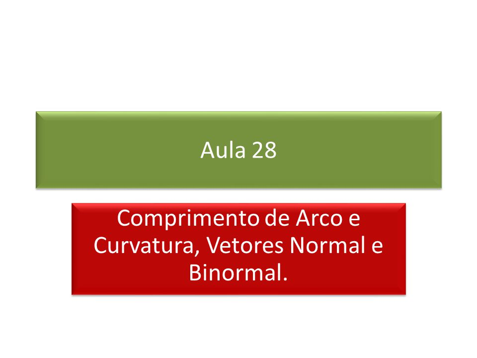 Comprimento de Arco e Curvatura, Vetores Normal e Binormal.