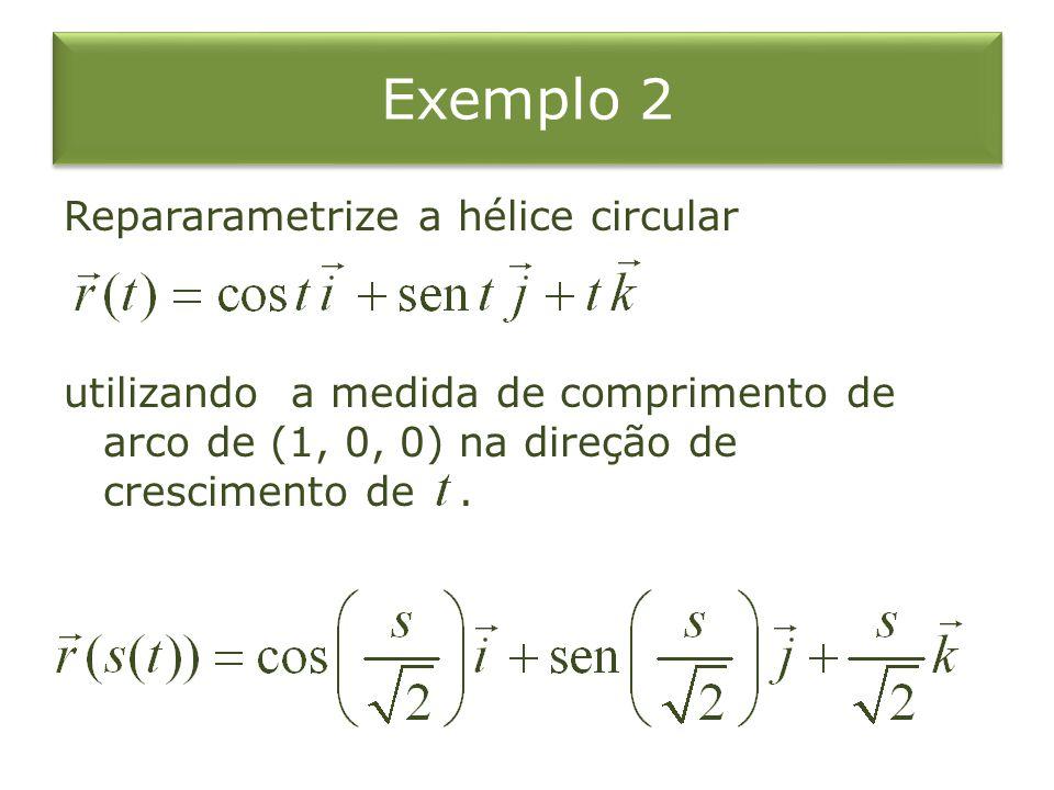 Exemplo 2 Repararametrize a hélice circular utilizando a medida de comprimento de arco de (1, 0, 0) na direção de crescimento de .