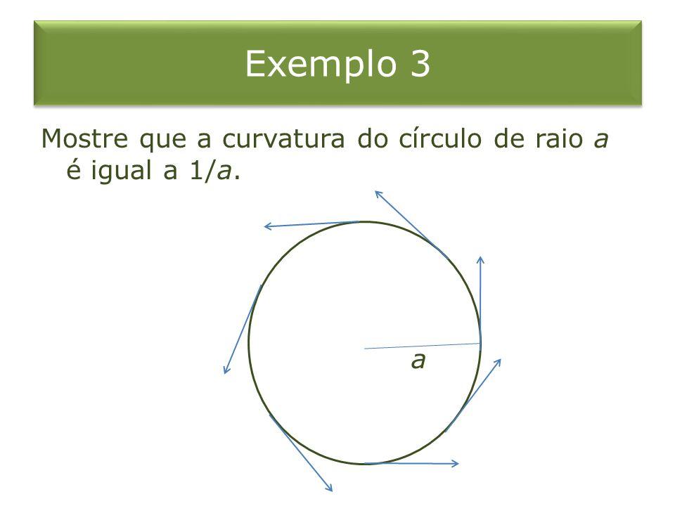 Exemplo 3 Mostre que a curvatura do círculo de raio a é igual a 1/a. a