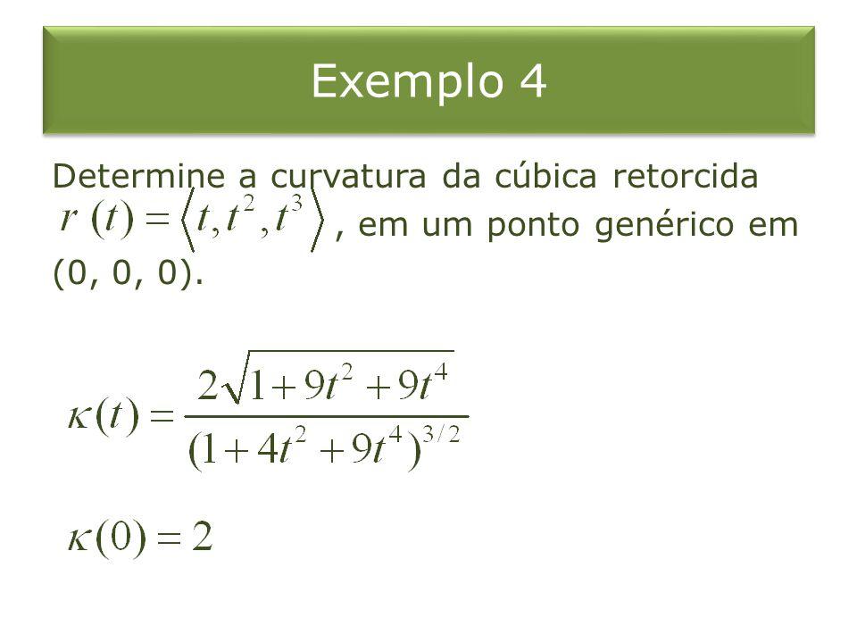 Exemplo 4 Determine a curvatura da cúbica retorcida , em um ponto genérico em (0, 0, 0).