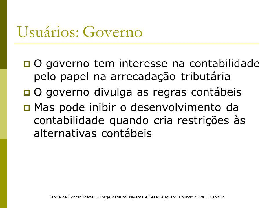Usuários: Governo O governo tem interesse na contabilidade pelo papel na arrecadação tributária. O governo divulga as regras contábeis.