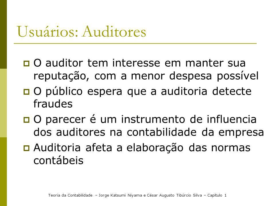 Usuários: Auditores O auditor tem interesse em manter sua reputação, com a menor despesa possível. O público espera que a auditoria detecte fraudes.