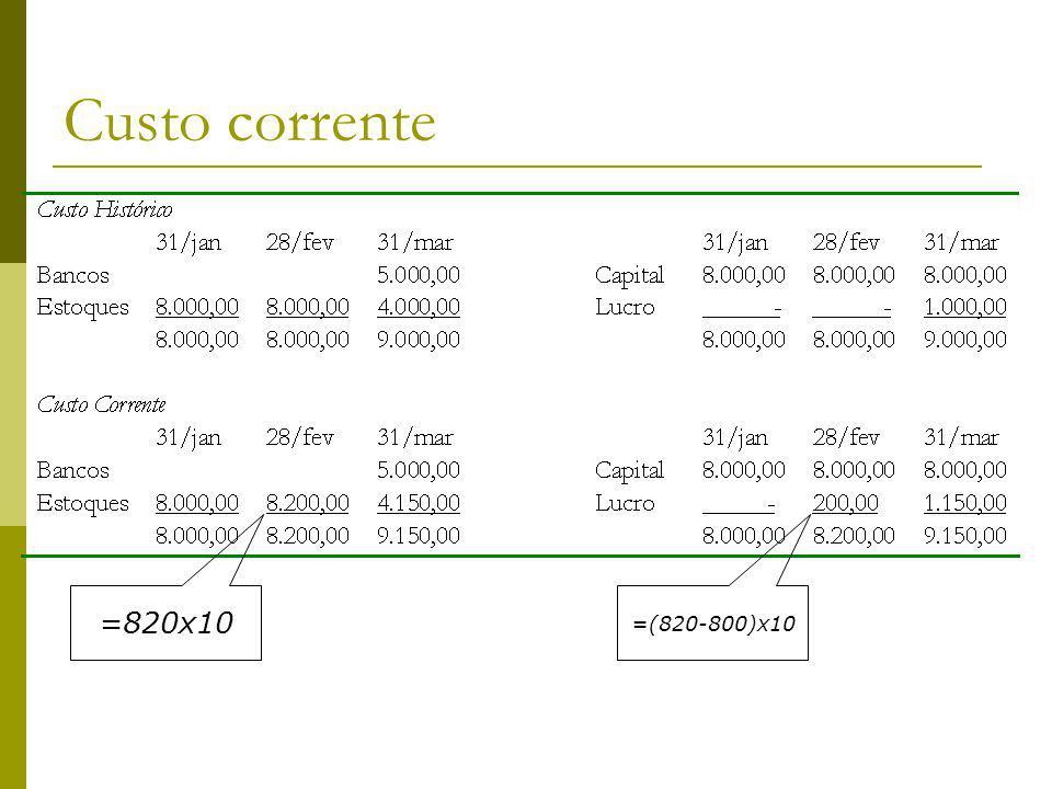 Custo corrente =820x10 =(820-800)x10