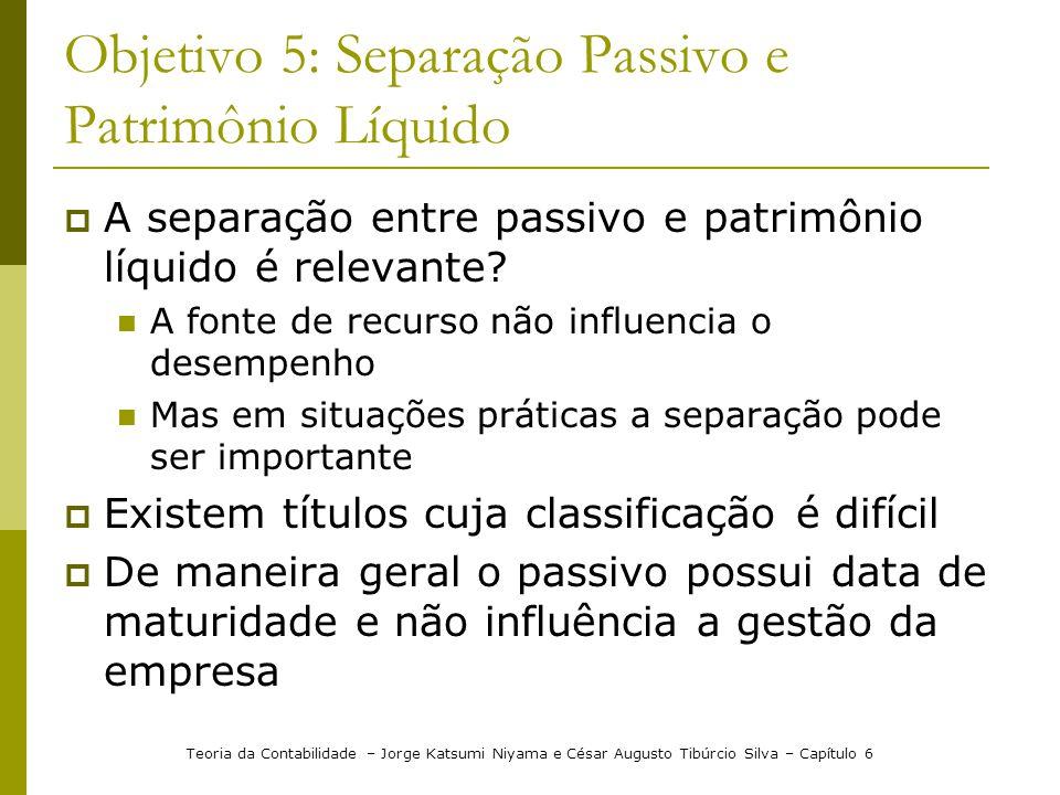 Objetivo 5: Separação Passivo e Patrimônio Líquido
