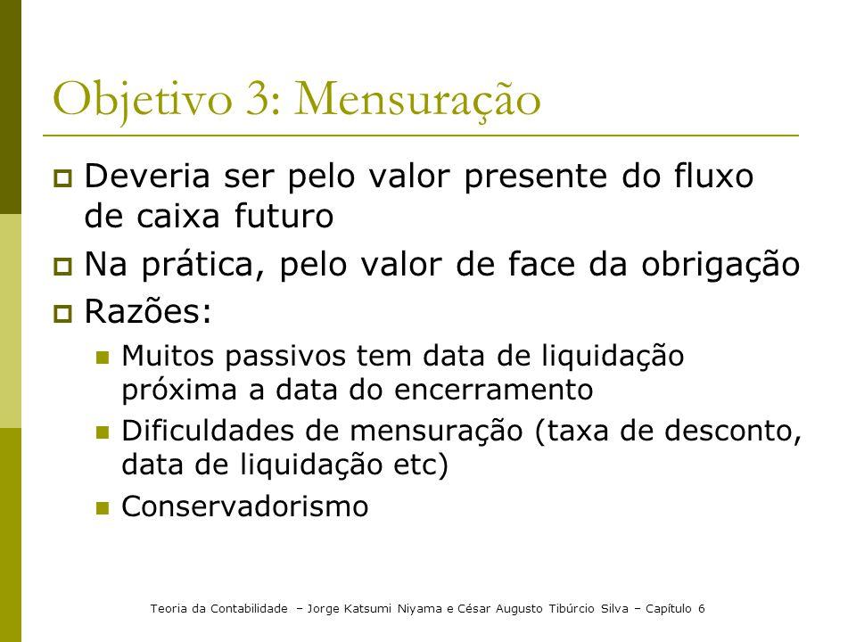 Objetivo 3: Mensuração Deveria ser pelo valor presente do fluxo de caixa futuro. Na prática, pelo valor de face da obrigação.
