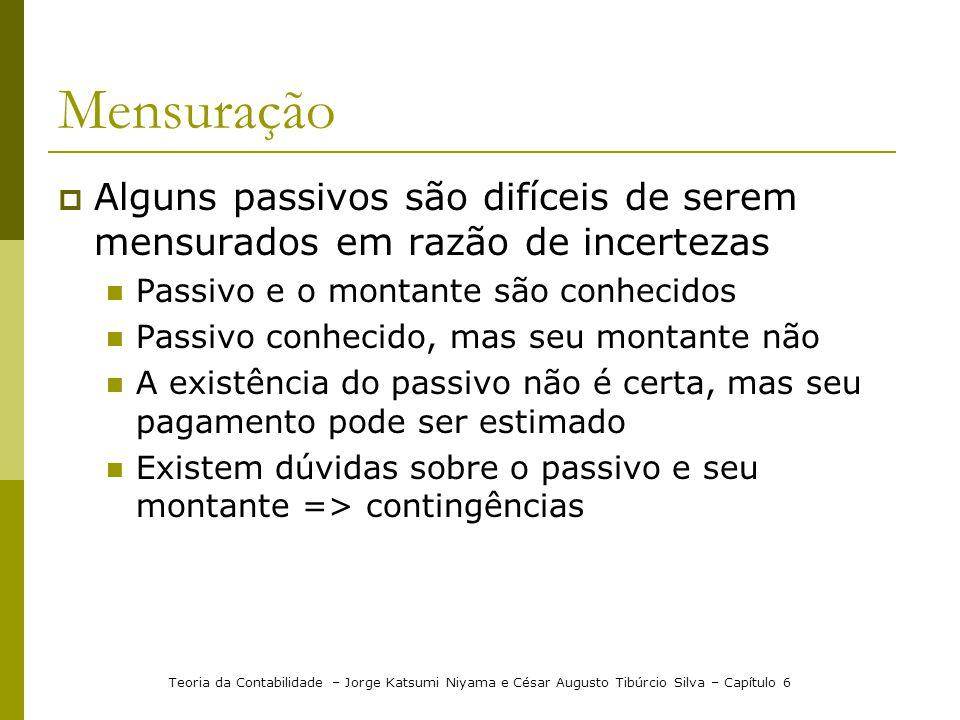 Mensuração Alguns passivos são difíceis de serem mensurados em razão de incertezas. Passivo e o montante são conhecidos.