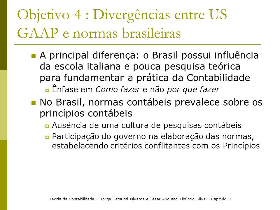 Objetivo 4 : Divergências entre US GAAP e normas brasileiras