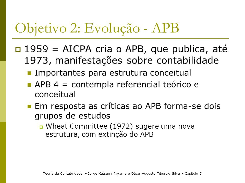 Objetivo 2: Evolução - APB