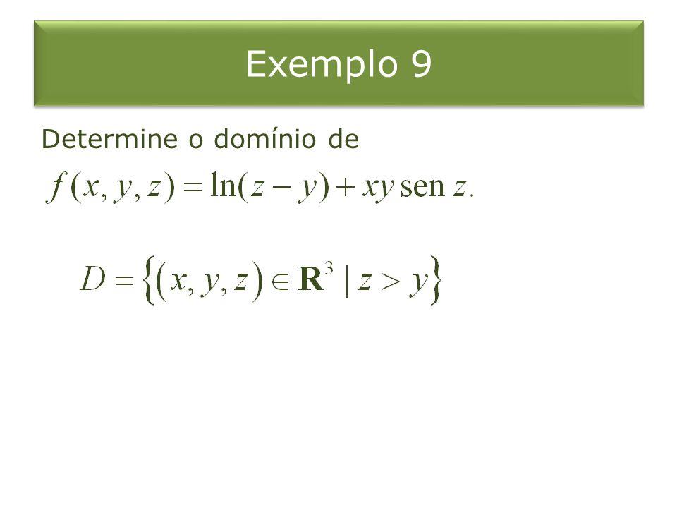 Exemplo 9 Determine o domínio de