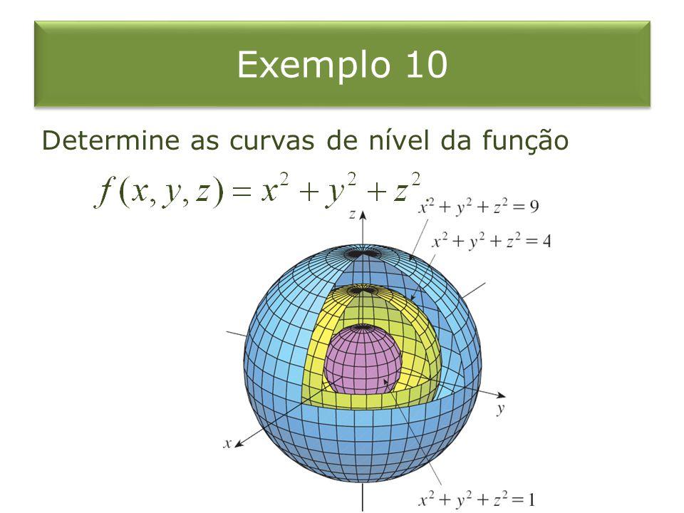Exemplo 10 Determine as curvas de nível da função