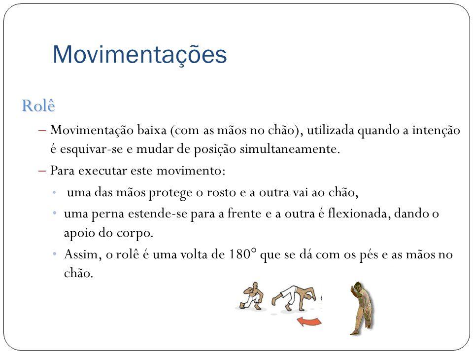Movimentações Rolê. Movimentação baixa (com as mãos no chão), utilizada quando a intenção é esquivar-se e mudar de posição simultaneamente.