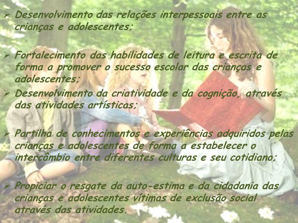 Desenvolvimento das relações interpessoais entre as crianças e adolescentes;