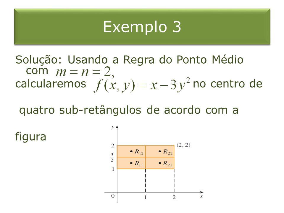 Exemplo 3 Solução: Usando a Regra do Ponto Médio com