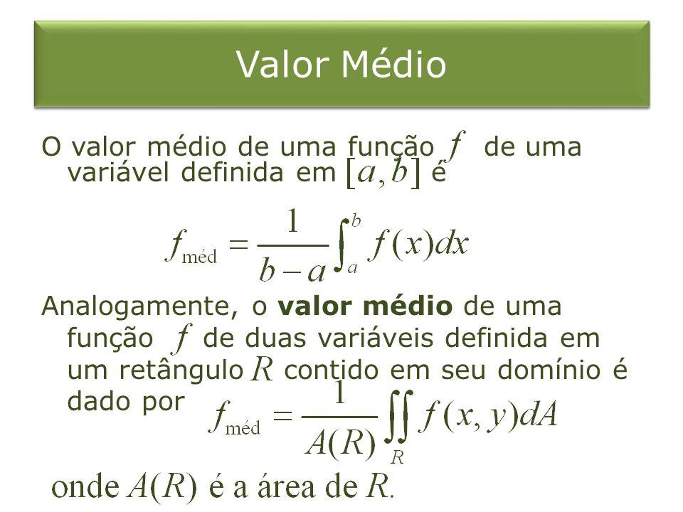 Valor Médio O valor médio de uma função de uma variável definida em é