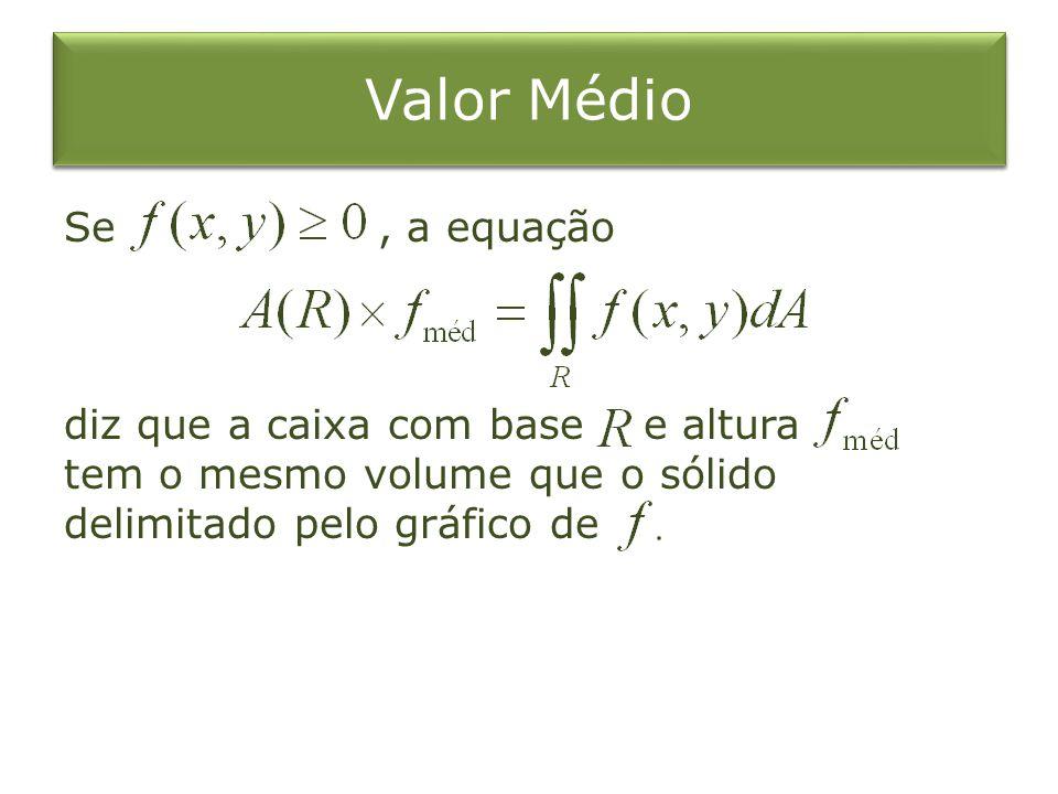 Valor Médio Se , a equação diz que a caixa com base e altura