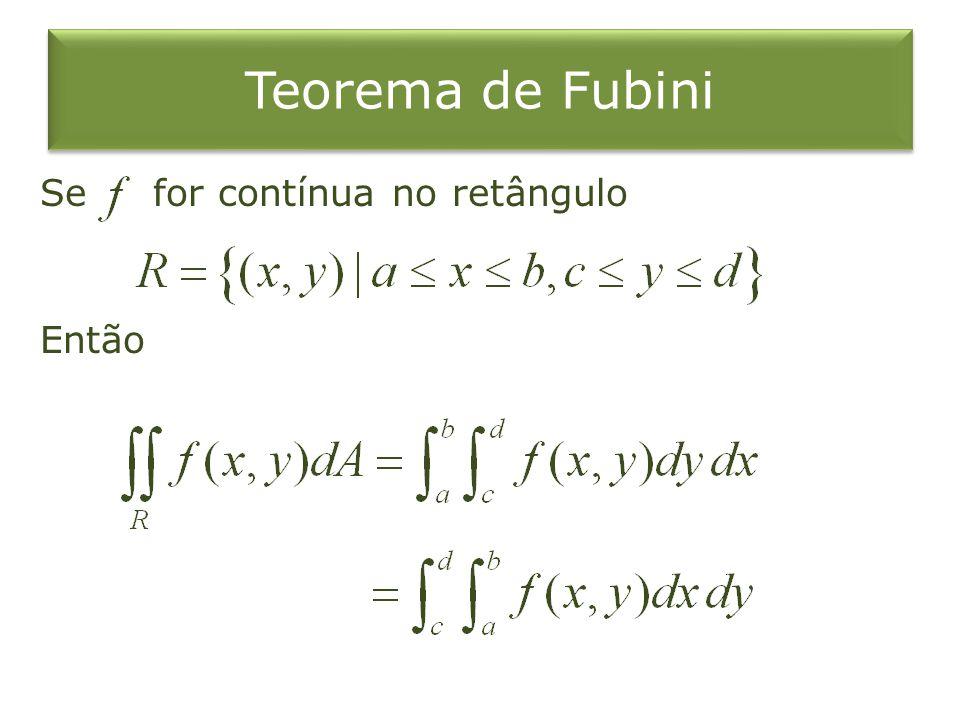 Teorema de Fubini Se for contínua no retângulo Então