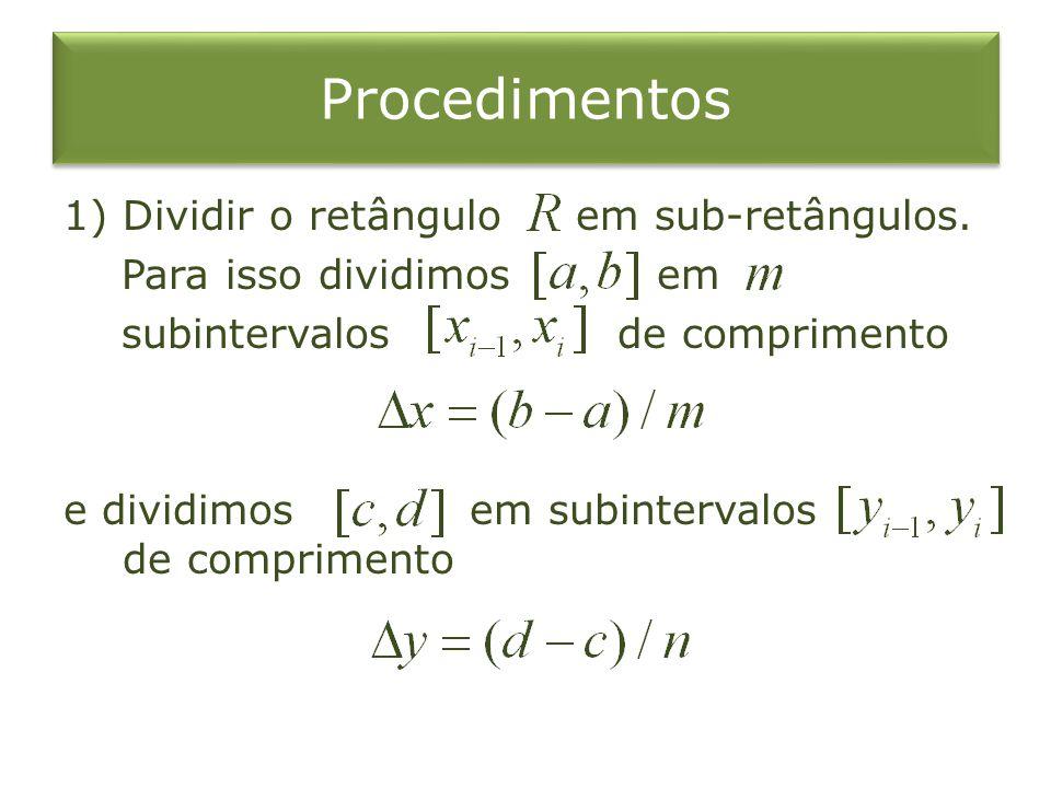 Procedimentos Dividir o retângulo em sub-retângulos.