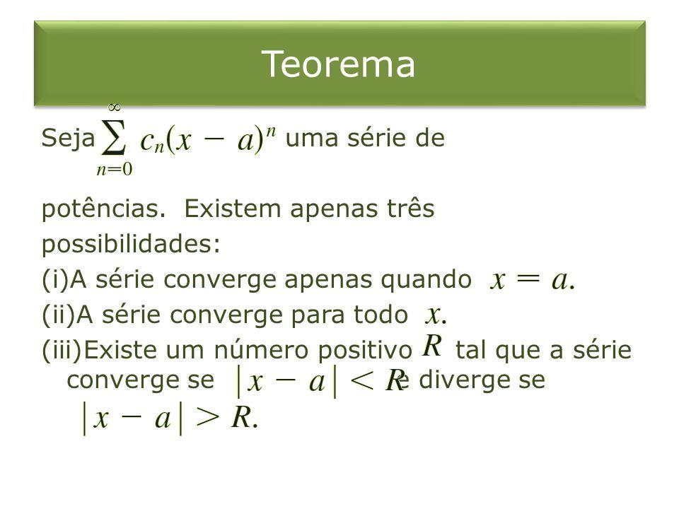 Teorema Seja uma série de potências. Existem apenas três