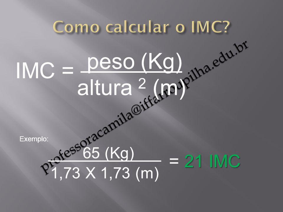 peso (Kg) IMC = altura 2 (m) 65 (Kg) = 21 IMC Como calcular o IMC