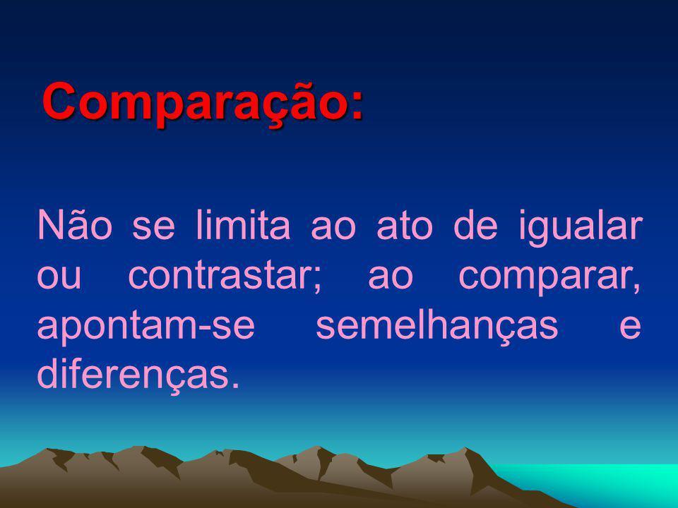 Comparação: Não se limita ao ato de igualar ou contrastar; ao comparar, apontam-se semelhanças e diferenças.
