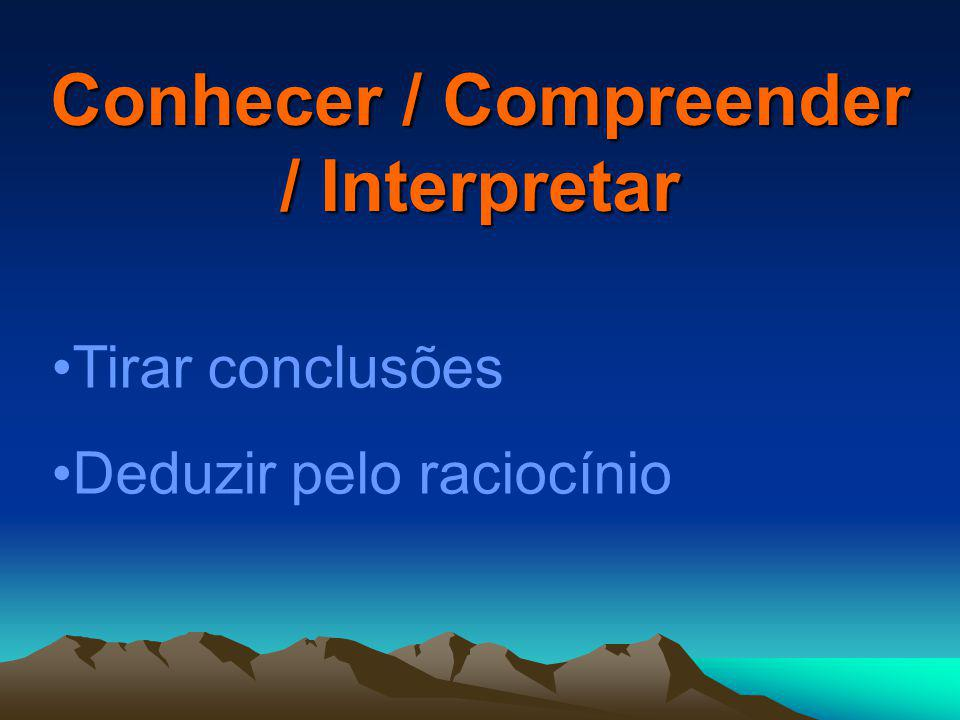 Conhecer / Compreender / Interpretar