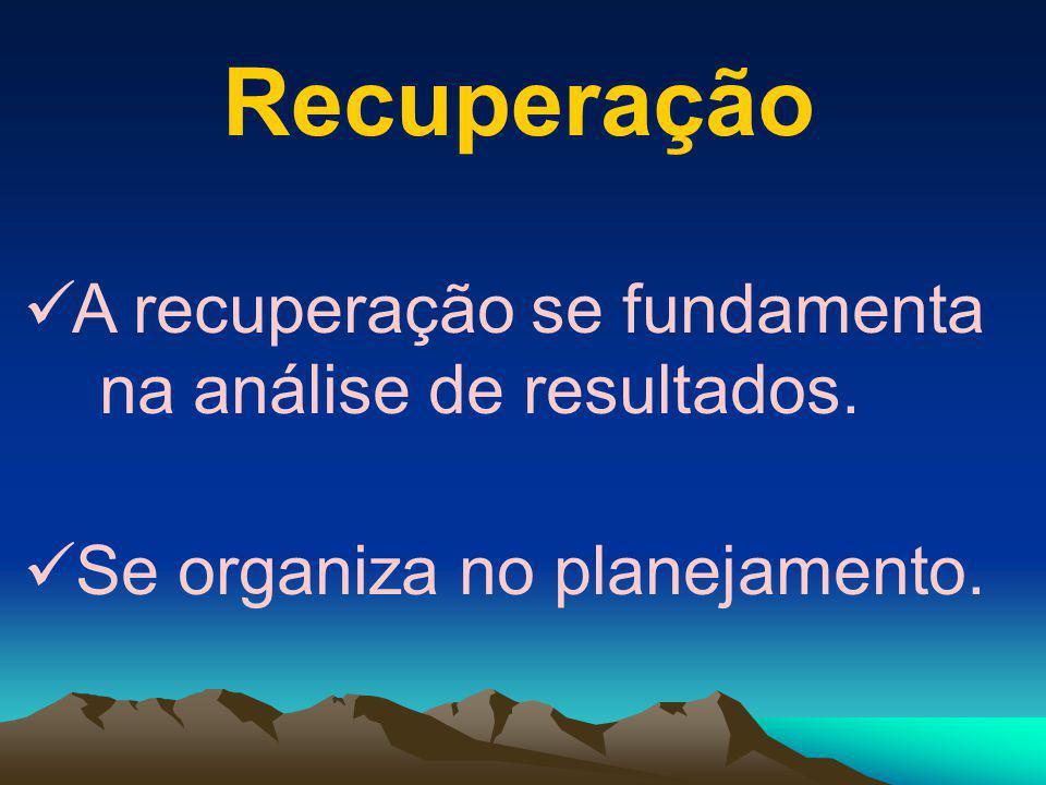 Recuperação A recuperação se fundamenta na análise de resultados.