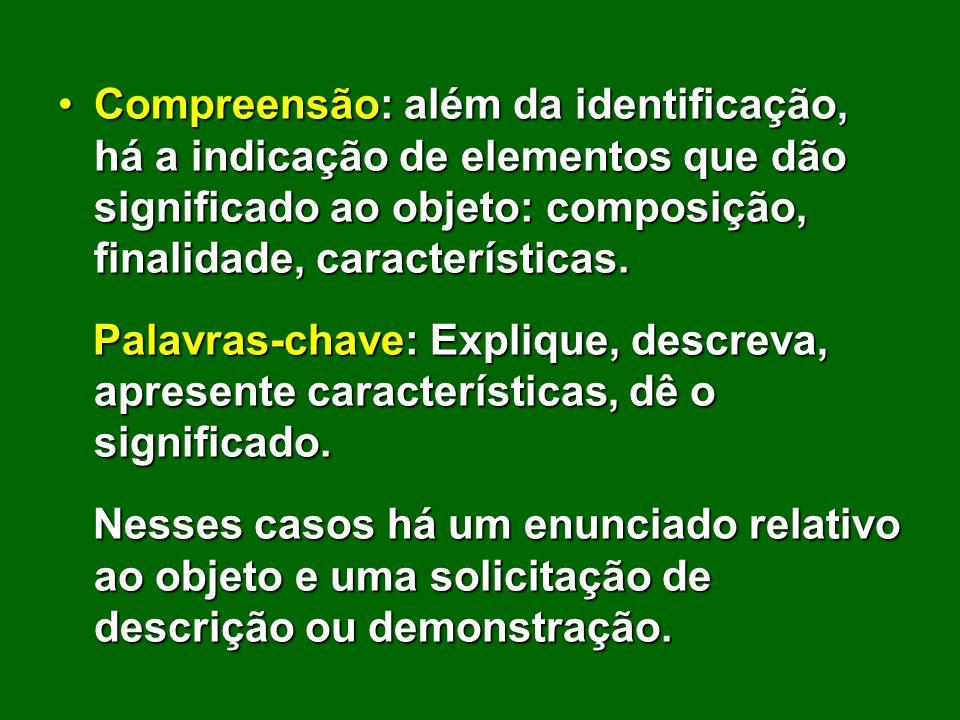 Compreensão: além da identificação, há a indicação de elementos que dão significado ao objeto: composição, finalidade, características.