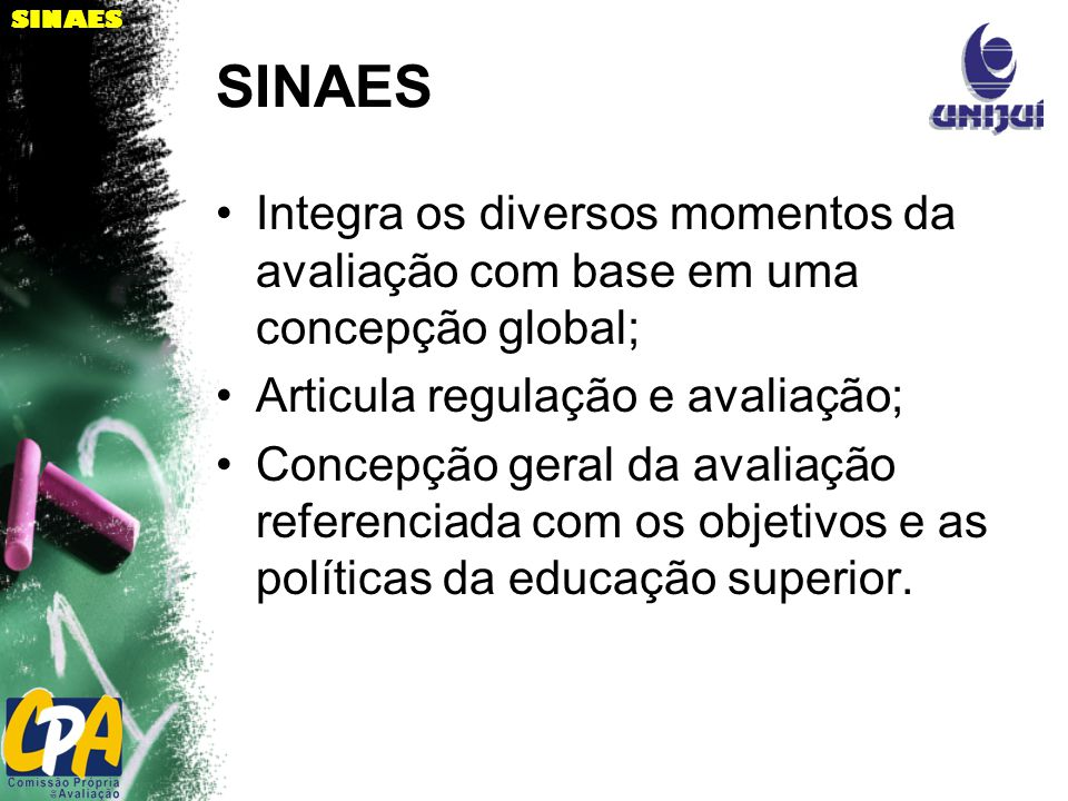 SINAES Integra os diversos momentos da avaliação com base em uma concepção global; Articula regulação e avaliação;