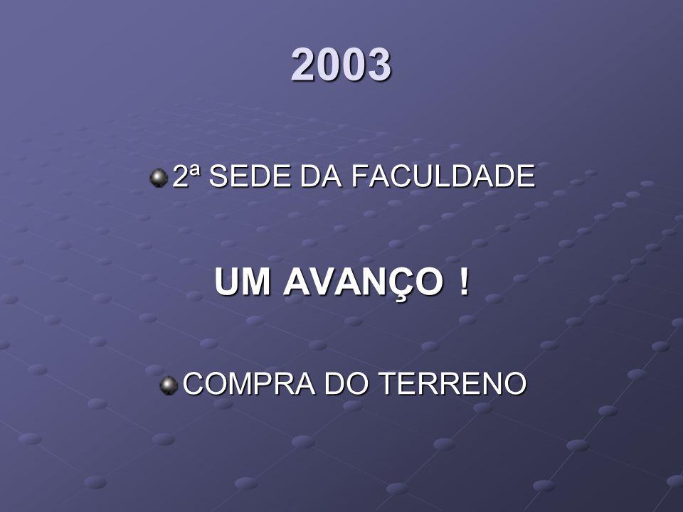 2003 2ª SEDE DA FACULDADE UM AVANÇO ! COMPRA DO TERRENO