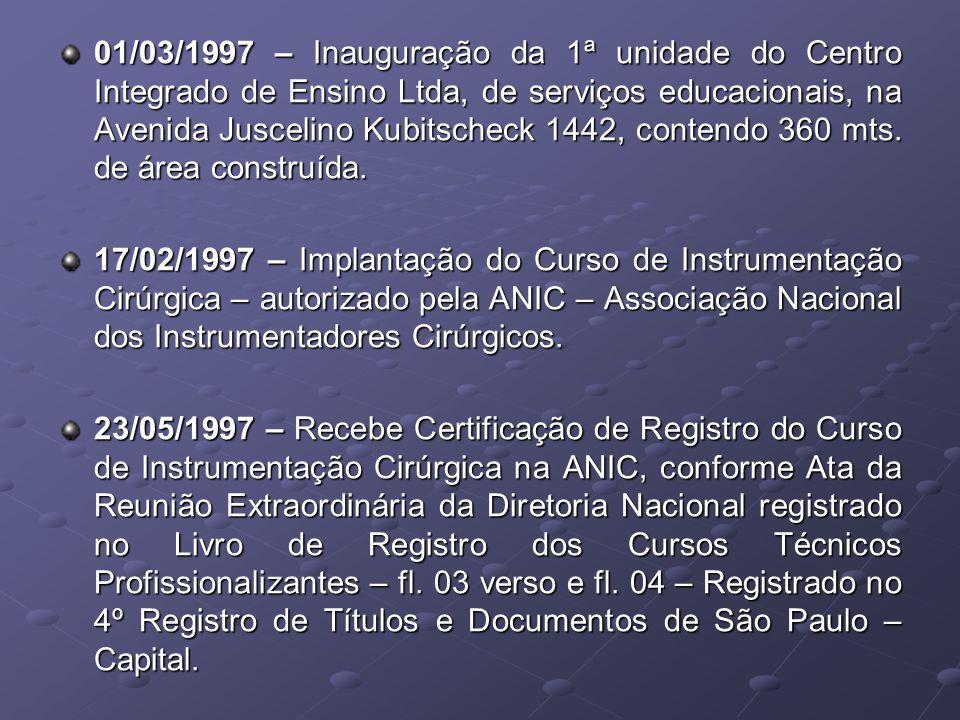 01/03/1997 – Inauguração da 1ª unidade do Centro Integrado de Ensino Ltda, de serviços educacionais, na Avenida Juscelino Kubitscheck 1442, contendo 360 mts. de área construída.