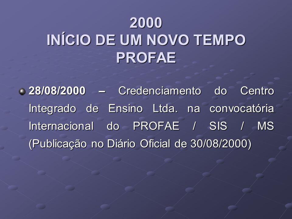 2000 INÍCIO DE UM NOVO TEMPO PROFAE