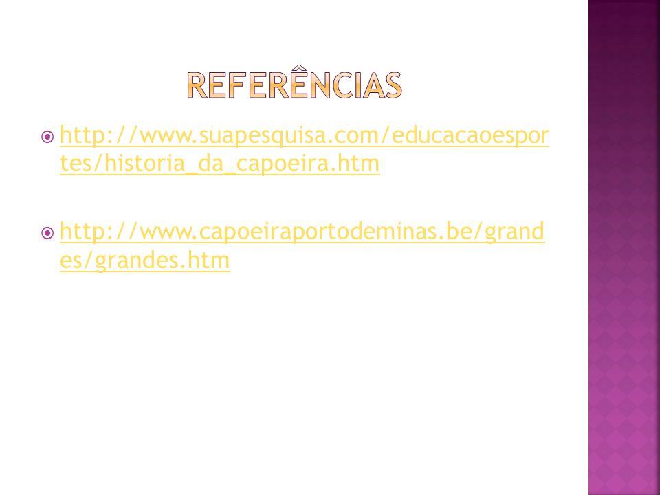 Referências http://www.suapesquisa.com/educacaoespor tes/historia_da_capoeira.htm.