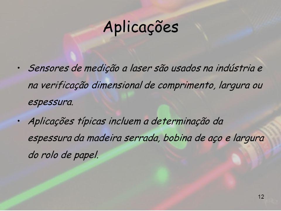 Aplicações Sensores de medição a laser são usados na indústria e na verificação dimensional de comprimento, largura ou espessura.
