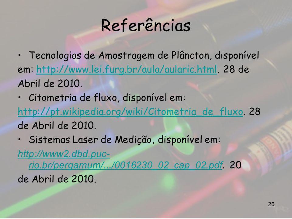 Referências Tecnologias de Amostragem de Plâncton, disponível