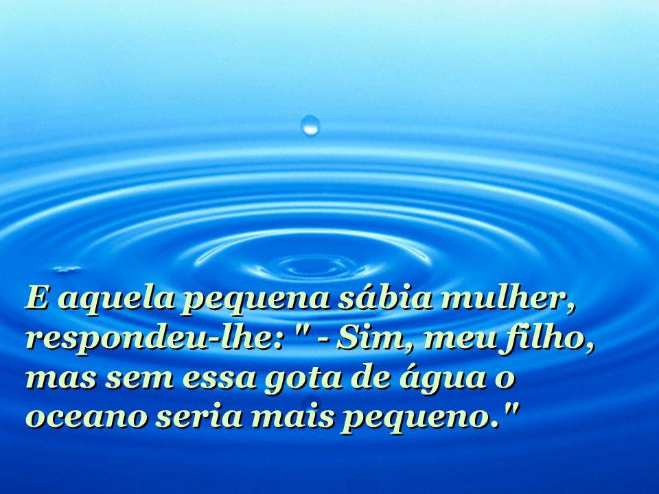 E aquela pequena sábia mulher, respondeu-lhe: - Sim, meu filho, mas sem essa gota de água o oceano seria mais pequeno.