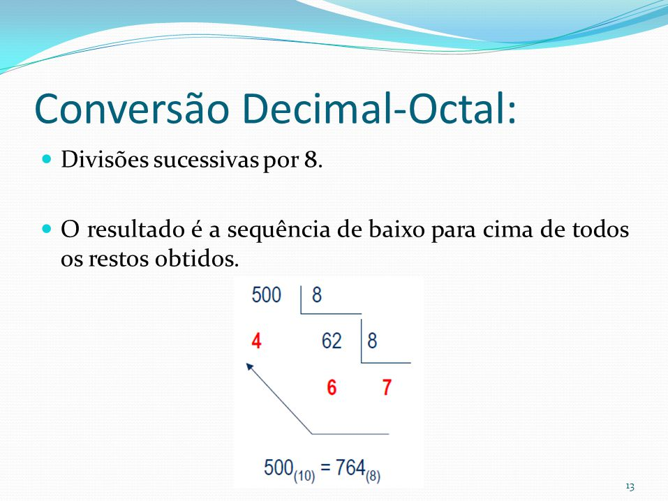 Conversão Decimal-Octal: