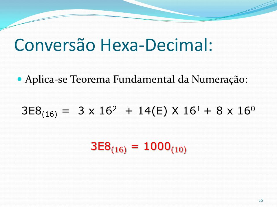 Conversão Hexa-Decimal: