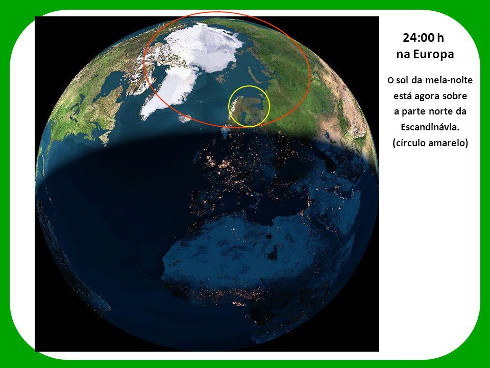 24:00 h na Europa está agora sobre a parte norte da Escandinávia.
