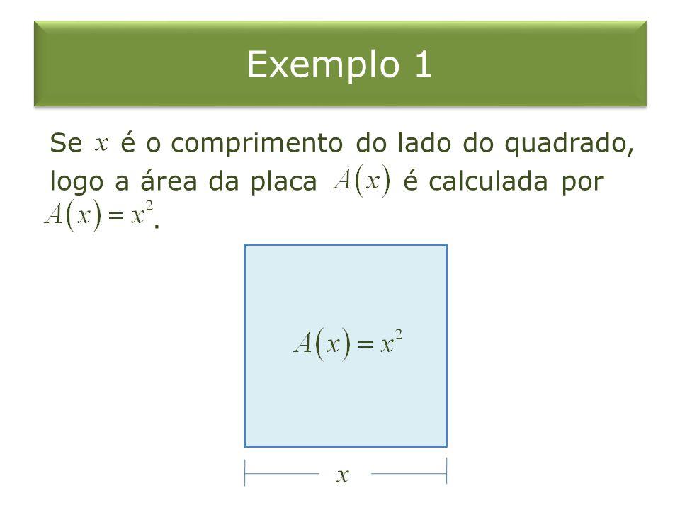 Exemplo 1 Se é o comprimento do lado do quadrado, logo a área da placa é calculada por .