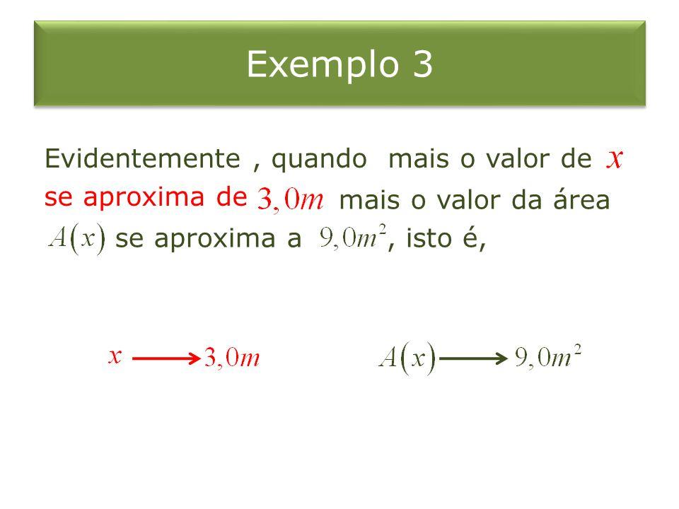 Exemplo 3 Evidentemente , quando mais o valor de se aproxima de