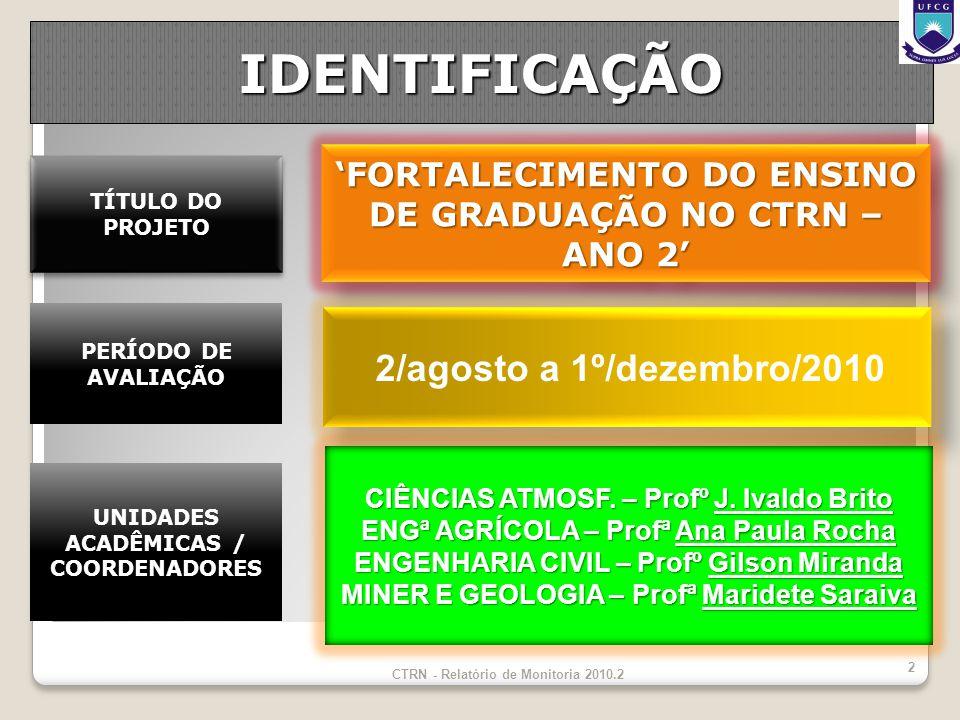 IDENTIFICAÇÃO 'FORTALECIMENTO DO ENSINO DE GRADUAÇÃO NO CTRN – ANO 2'